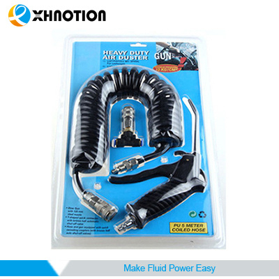 Blister Packing 6mm PU Coiled Tubing Air Blow Gun Kits with Pneumatic Fitting