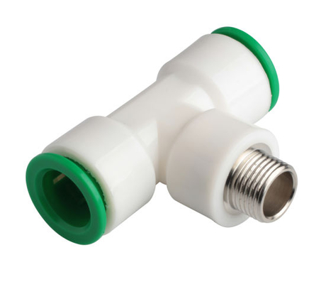 20mm, 25mm, 32mm Pneumatic Plastic Male Tee Push in Main Line Fitting Factory